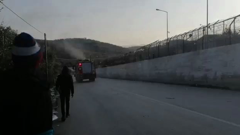 The mytilene fire department on its way to extinguish a fire at camp Moria