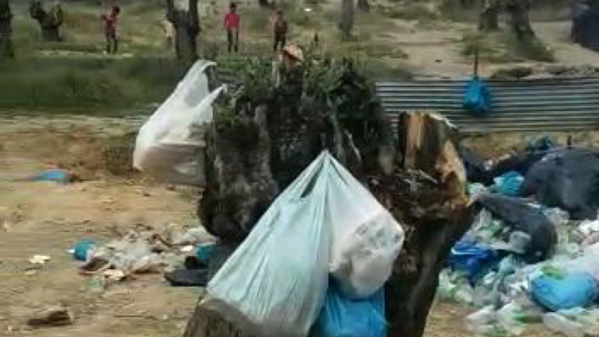 A team of refugees is collecting all the trash